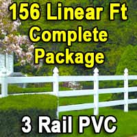 Brand New 156 Feet PVC 3 Rail Post and Rail Fence Complete Package