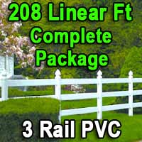 Brand New 208 Feet PVC 3 Rail Post and Rail Fence Complete Package