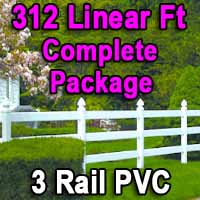 Brand New 312 Feet PVC 3 Rail Post and Rail Fence Complete Package