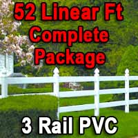 Brand New 52 Feet PVC 3 Rail Post and Rail Fence Complete Package