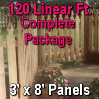 3' x 120' Semi Private Taylor Style Cedar Wood Picket Fence Complete Package
