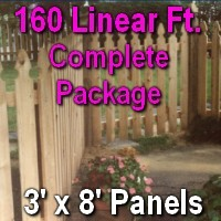 3' x 160' Semi Private Taylor Style Cedar Wood Picket Fence Complete Package