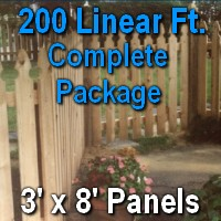 3' x 200' Semi Private Taylor Style Cedar Wood Picket Fence Complete Package