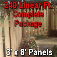 3' x 240' Semi Private Taylor Style Cedar Wood Picket Fence Complete Package