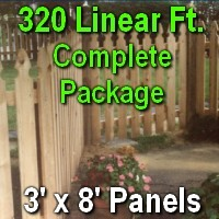 3' x 320' Semi Private Taylor Style Cedar Wood Picket Fence Complete Package
