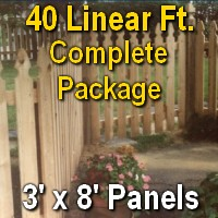 3' x 40' Semi Private Taylor Style Cedar Wood Picket Fence Complete Package