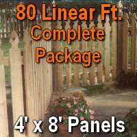 4' x 80' Semi Private Taylor Style Cedar Wood Picket Fence Complete Package