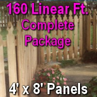 4' x 160' Semi Private Taylor Style Cedar Wood Picket Fence Complete Package