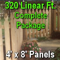 4' x 320' Semi Private Taylor Style Cedar Wood Picket Fence Complete Package