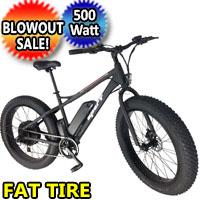 48v Electric Fat Tire Bike 500 Watt Lithium Ion Battery Beach Cruiser Mountain Bicycle
