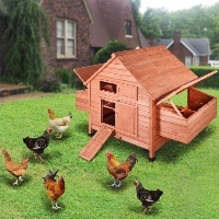 "59""x39""x41"" Wooden Chicken Coop Poultry Hen Chicken Cage Nesting Box"